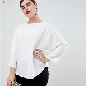 Like New! ASOS curve white blouse with rhinestones